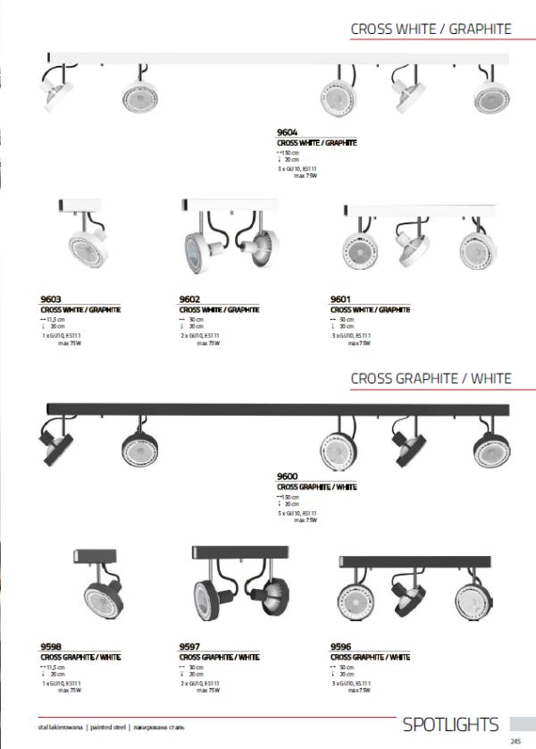Notranja svetilka stropna, CROSS WHITE/GRAPHITE, Nowodvorski, max 75W, GU10, bela/grafit