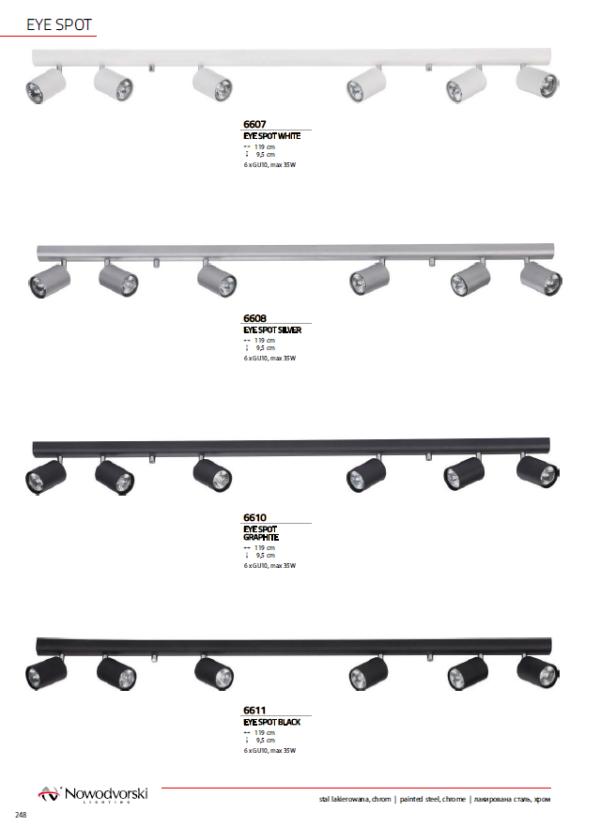Notranja svetilka stropna letev, EYE SPOT WHITE , SILVER, GRAFHITE, BLACK, Nowodvorski, 6x, GU10