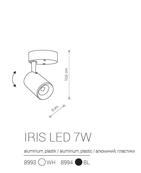 Notranja Stenska/Stropna, IRIS LED 7W, bela/črna, Nowodvorski, IP20, shema