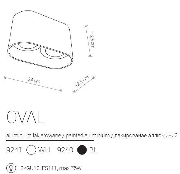 Notranja Stropna, OVAL, 2xGU10, bela/črna, Nowodvorski, IP20,, shema