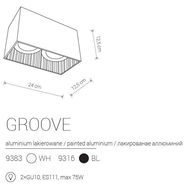 Notranja Stropna, GROOVE, 2xGU10, bela/črna, Nowodvorski, IP20,shema