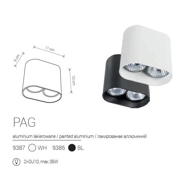 Notranja Stropna, GAP/PAG, 2xGU10, bela/črna, Nowodvorski, IP20, shema