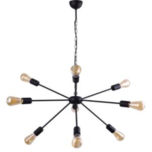 Notranja stropna dekorativna svetilka, ROD Black IX, 60W, 9xE27, IP20, 230V