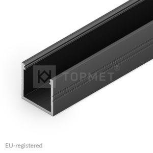 LED profil, SMART16, B/U4, alu-črn anodiziran, 2m