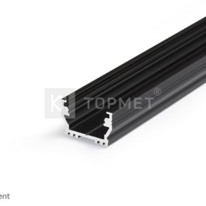 LED profil, UNI12, BCD/U, alu-črn anodiziran, 2m