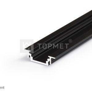 LED profil, GROOVE10 BC/UX, alu-črn anodiziran, 2m