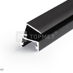 LED profil, EDGE10 BC, alu-črn anodiziran, 2m