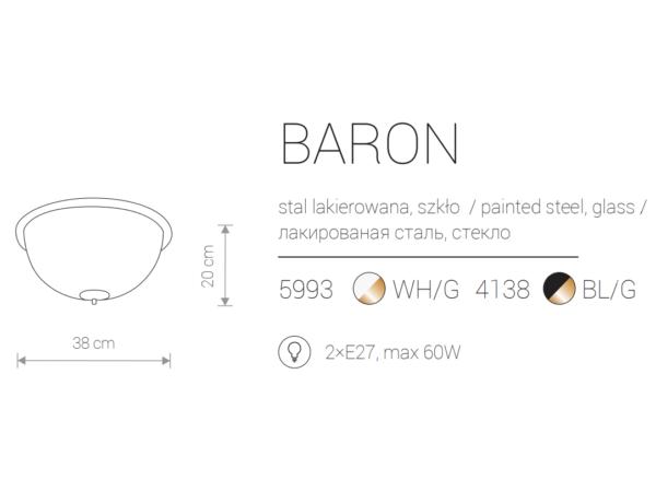 Notranja viseča, BARON II white, 60W, 2xE27, IP20