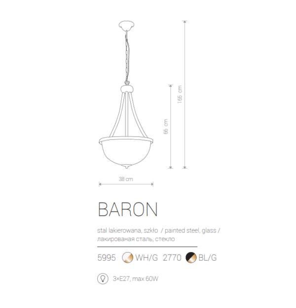 Notranja viseča, BARON III black, 60W, 3xE27, IP20