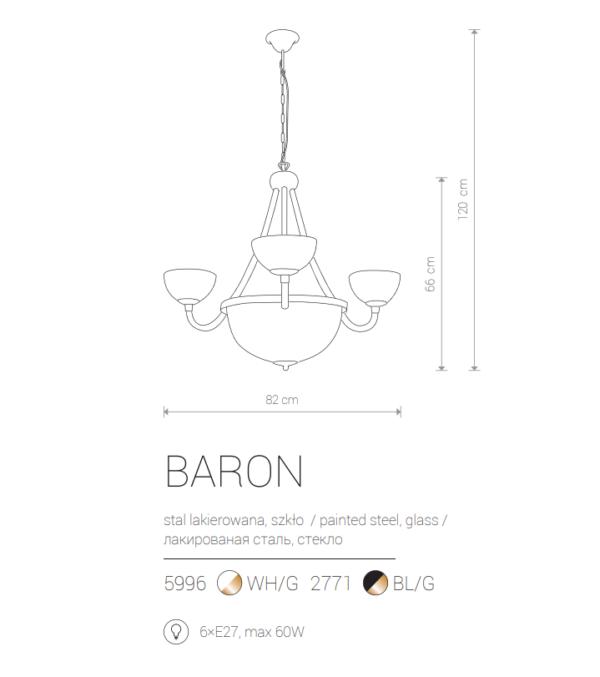 Notranja viseča, BARON VI white, 60W, 6xE27, IP20