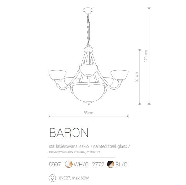 Notranja viseča, BARON VIII black, 60W, 8xE27, IP20