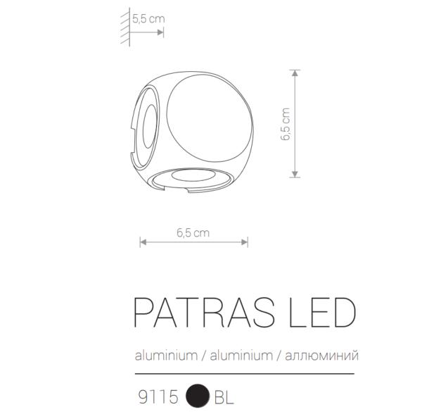 Zunanja stenska, PATRAS LED, 1W, 4xLED, IP54