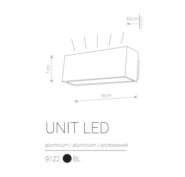 Zunanja stenska, UNIT LED, Nowodvorski, LED 2x5W, črna, IP54