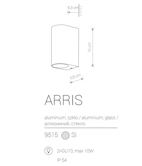Zunanja stenska, ARRIS silver, 10W, 2xGU10, IP54
