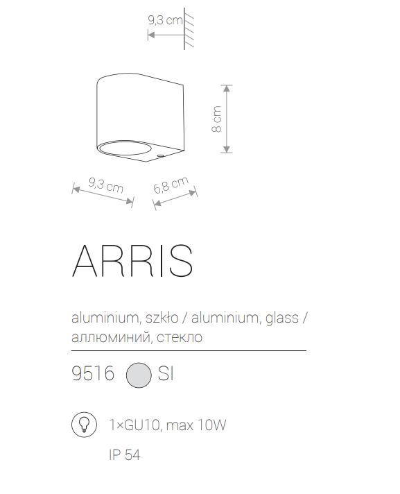 Zunanja stenska, ARRIS silver, 10W, 1xGU10, IP54