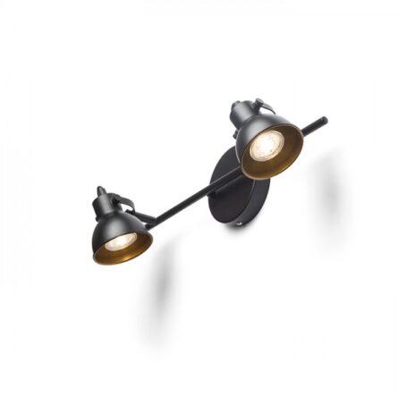 ROSITA II stenska črna/zlata  230V LED GU10 2x9W