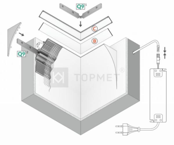 LED profil, SMOOTH12 BC/Q9, alu-surov, 2m